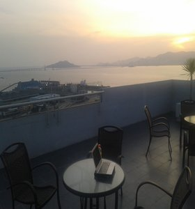 Rooftop terrace Penang - my travel writing office.