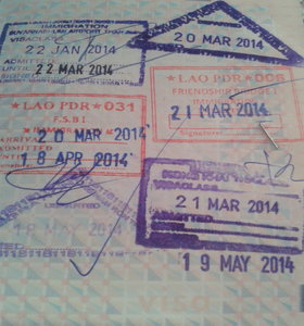 Passport visa run stamps
